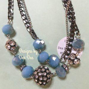 Silver Tone Chain & Rhinestone Fashion Necklace